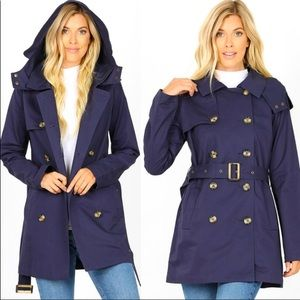 Double Breasted Belt Cotton Twill Trench Coat NWT